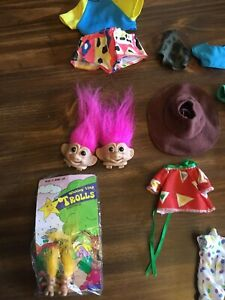 Hard to find Russ troll doll head shoe lace huggers and earrings plus clothing