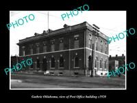 OLD LARGE HISTORIC PHOTO OF GUTHRIE OKLAHOMA, THE POST OFFICE BUILDING c1920