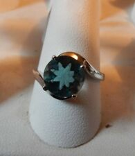 Natural Green Fluorite Sterling Silver Solitaire Ring  Size 8