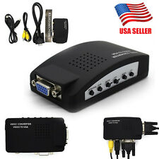TV RCA Composite S-Video AV In To PC VGA LCD Out Converter Adapter Box US TO