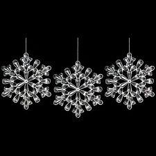 Lot de 3 acrylique clair flocon de neige arbre de noël/mur plafond décoration