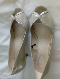 wedding shoes, open Toe with diamante, embellishments, size 6 wide fit.