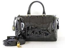 rk5100 Auth CHANEL Black Patent Leather CC 2 Way Hand Shoulder Boston Bag