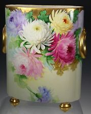 LIMOGES HAND PAINTED  Cache Pot Vase Artist Signed