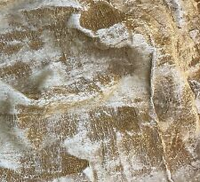 "Hand Painted Silk Velvet Fabric - Metallic Gold on White 45"" by the yard"