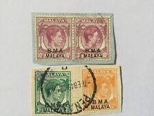 Malaya Malaysia 1945 Straits Settlements Ovpt BMA On Paper Lot 34