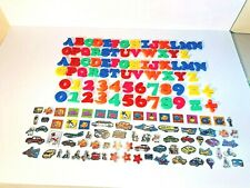 Huge Lot of Magnetic Alphabet Letters, Numbers and Visual Learning Magnets - EUC