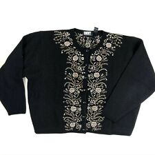 Vintage Donna Karan Dkny Knit Wool Sweater Made In Hong Kong Flowers Appliqué
