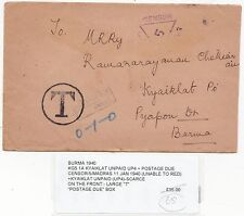 * BURMA KGV POSTAGE DUE & TAXE KYAIKLAT UNPAID EX INDIA 1A COVER CENSORED 1940