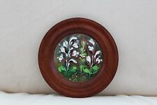 Vintage Enamel on Copper Hanging Plaque with Wooden Surround