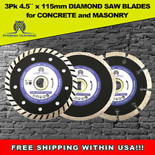 "3PK 4-1/2"" Diamond Saw Blade Cutting Discs Concrete & Stone For Angle Grinder"