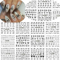 English Letter Nail Art Sticker Manicure Decor Adhesive Tips 3D Transfer Decal