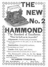 Alte Original-Anzeige (14) Werbung Reklame Schreibmaschinen: Hammond 2, 1896