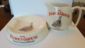 Vintage The Famous Grouse Pitcher & Ashtray Stoneware WADE pdm England 1970s