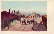Midlake Station Lucin Cut-Off, S P R.R. Great Salt Lake, Ut passengers on tracks