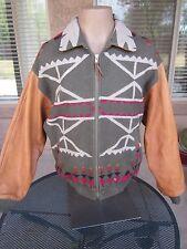 VTG Pendleton Indian Blanket Wool Leather Sleeve Jacket, MEDIUM