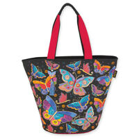 Laurel Burch Butterflies Large Canvas Shoulder Bag Tote Handbag Purse