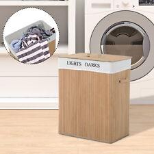 100L Bambus Wäschekorb Wäschetruhe Wäschebox Wäschesammler Wäschesortierer Natur