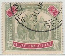 MALAYA 1907 FMS Elephants & Howdah $2 used wmk MCCA SG#49 M1308