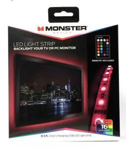 Monster Basics 6.5 Ft Color Changing USB LED Light Strip With Remote