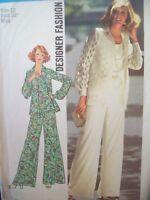 Simplicity 7002 Designer Fashion Shirt-Jac Wide Leg Pants Size 12 UC 1970s NOS