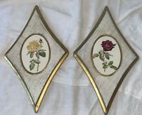2 Vintage Florentia Wood Gold Gilt Wall Plaques Diamond Shape Made In Italy J