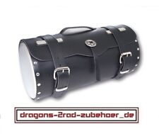 Motorrad GEPÄCKROLLE Leder + Chromdeckel für Harley Chopper luggage roll leather