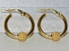 9ct Oro Giallo Orecchini Creoli A Cerchio Donna con Glitter associata Ball-ER0778