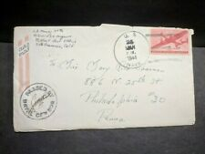 USS ARGONNE AS-10 Naval Cover 1944 Censored WWII Sailor's Mail w/ 4 page letter