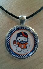 * HELLO KITTY NFL DENVER BRONCOS * Glass Pendant with Leather Necklace