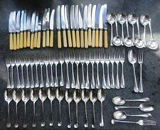 12 place setting Vintage Cutlery Rattail Rat Tail EPNS, Roberts & Belk, 70 items