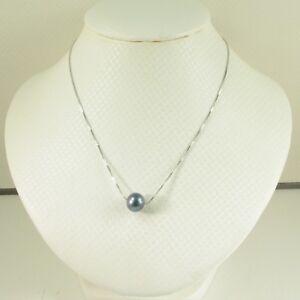 Simple & Elegant Solid Sterling Silver .925 Black Cultured Pearl Necklace TPJ
