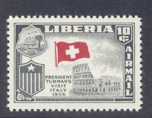 Liberia 1958, Visit to Italy, WRONG flag, flag of SWITZERLAND NH #C114
