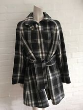 JOSEPH Check Virgin Wool Blend Belted Winter Cape Jacket Coat Size 36 S  M L