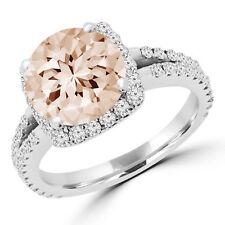 3.22 Ct Pink Round Morganite Cocktail Ring 10K White Gold