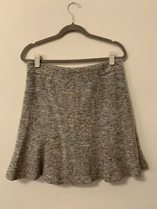 Ann Taylor Womens Size 10 Wool Blend Gray Brown Fluted Flare Skirt Pleated