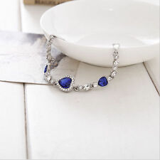 Fashion Women Girls LadyBlue Crystal Jewelry Silver Plated Charm Bracelet Bangle