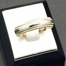 Benchmark - comfort fit two-tone men's wedding band (14k)