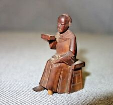 Antique Vtg Chinese Wooden Carved Statue Wood Buddhist Monk