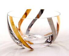 "Brilliant Crystal Bowl w Gold & Silver Swirls. MCM Cocktail Party Barware 4.75"""