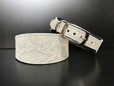 S/M Leather Dog Collar LINED Greyhound Whippet Saluki LIGHT GREY SNAKE SKIN