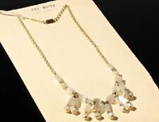"""Vintage 18"""" wired fringe necklace satin atlas pinched pearl Czech glass beads"""