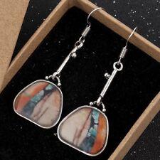Silver Vintage Ethnic Boho Drop Dangle Earrings Green Orange Stone UK Seller