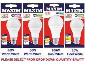 40W 60W 100W LED Light Bulbs WARM COOL WHITE ENERGY SAVINGS LAMP BAYONET CAP BC