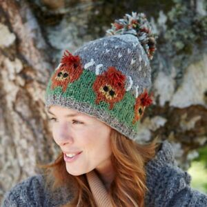 Pachamama Herd of Highland Cows Wool Bobble Hat Fleece Lined Made in Nepal