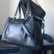 Coach XL Ashley Black Leather Satchel Shoulder Bag Crossbody Handbag F20104