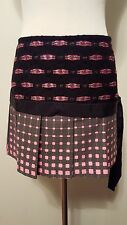 Custo Barcelona Awesome Pleated Gray Black Hot Pink Skirt Sz 8