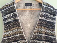 Men's Vest Sweater Waist Coat Zip Up Striped Grey Gold Ivory Vintage Size L