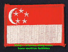 LMH PATCH Woven Badge SINGAPORE FLAG Red White Stripe Bar White C Crescent Stars