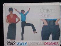Vtg Calvin Klein Vogue 80s 2442 Denim Jeans Skirt Pants Uncut Pattern Size 8